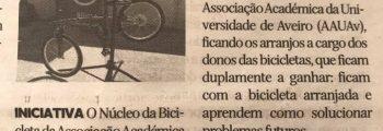 Reportagem no Diário de Aveiro: Recomeço das Cicloficinas